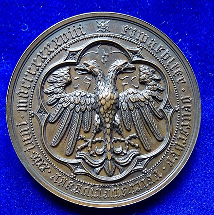 Election of Archduke John of Austria 1848 as Imperial Regent (Reichsverweser) by the Frankfurt Parliament. Medal by Karl Radnitzky, reverse showing the German double-headed Imperial Eagle.