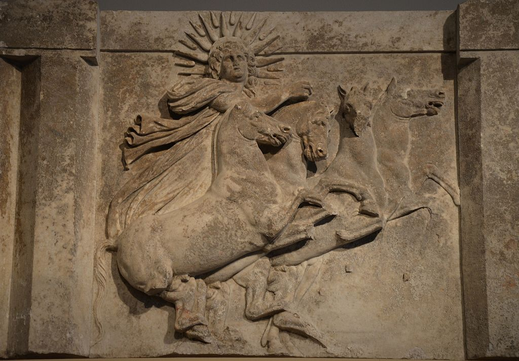 Architrave with sculpted metope depicting the Sun God Helios in quadriga, from the Temple of Athena at Ilion-Troy (Schliemann's excavation 1872), 300-280 BC, Altes Museum (14145626535)