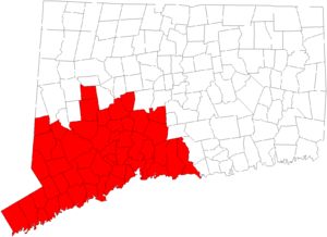 Area codes 203 and 475 - Connecticut state map with numbering plan area 203/475 highlighted.