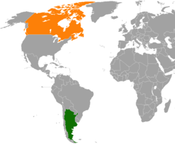 Map indicating locations of Argentina and Canada