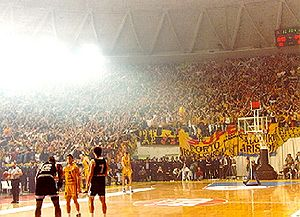 Aris Thessaloniki basketball team fans in Alex...