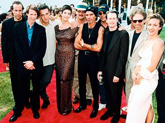 Liv Tyler - Tyler (center) with cast and crew at the premiere of Armageddon, at the Kennedy Space Center in Florida, 1998
