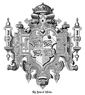 """Llywelyn's coronet - A 16th century illustration by Lewys Dwnn of the """"Arms of Wales"""" which shows the Crown of the Principality surmounting the Arms. In this illustration the """"crown"""" is clearly a coronet and of a curious design. Given that Llywelyn's crown was still in existence at this time and in the possession of the English monarch then this may be a representation of what that original Welsh crown looked like as seized by Edward I in 1283."""