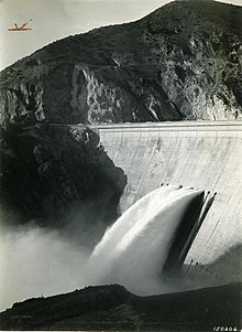 Photo of water being discharged from the Arrowrock Dam