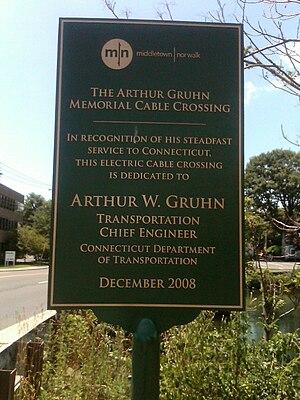 Ash Creek (Connecticut) - Image: Arthur Gruhn Memorial Cable Crossing