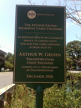 Ash Creek (Connecticut) - Image: Arthur Gruhn Memorial Cable Crossing