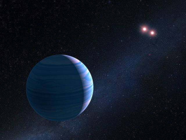 Artist's impression of exoplanet orbiting two stars