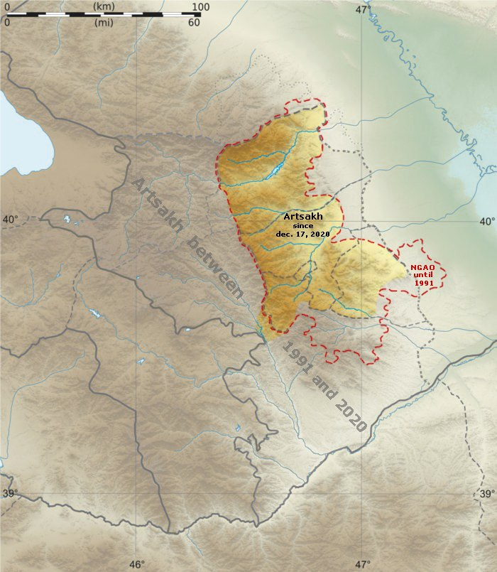 Artsakh relief location map