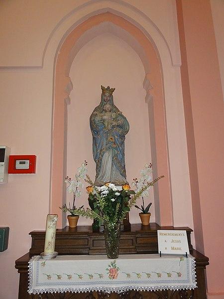 Assevent (Nord, Fr) - église St. Joseph, statue de la Vierge à l'Enfant