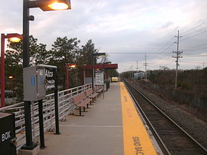Atco station - The station platform at Atco, as seen facing westbound towards Lindenwold station on New Years Eve in 2011.