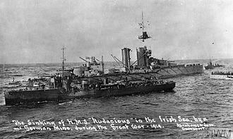 HMS Audacious (1912) - Destroyers evacuate crewmen