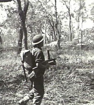 2/6th Battalion (Australia) - A soldier from the 2/6th with an Owen gun during an exercise in Queensland, April 1944