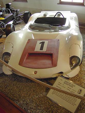 "Porsche 910 - Porsche 910 ""Bergspyder"" on static display in the Porsche Automuseum Helmut Pfeifhofer in Gmünd."