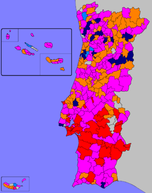 Portuguese local elections, 2013 - Most voted parties or coalitions in each Municipality.  Municipalities won by: ■ - PS: 150  ■ - PSD: 86   ■ - CDU: 34  ■ - CDS–PP: 5  ■ - PSD coalitions: 20   ■ - Independents: 13