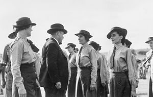 Australian Women's Army Service -  Northam, Western Australia, 20 April 1943. The Minister for the Australian Army, the Honourable F.M. Forde, inspecting personnel of the Australian Women's Army Service at the Western Training Centre.