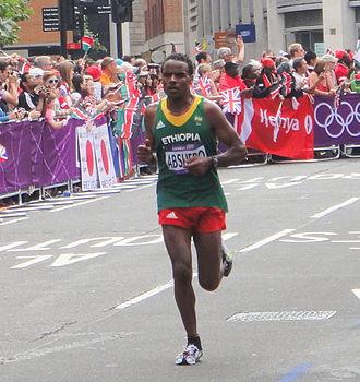 Ayele Abshero - Image: Ayele Abshero (Ethiopia) London 2012 Mens Marathon