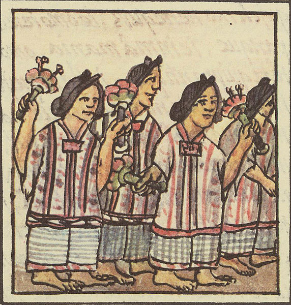 Aztec Feast Illustration, Women With Flowers