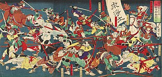 Tokugawa Ieyasu - An ukiyo-e print depicting the Battle of Azukizaka. In his early days as daimyō of Mikawa Ieyasu had difficult relations with the Jōdō temples which escalated in 1563–64.