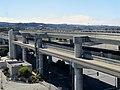 BART and SFO AirTrain viaduct, July 2018.JPG