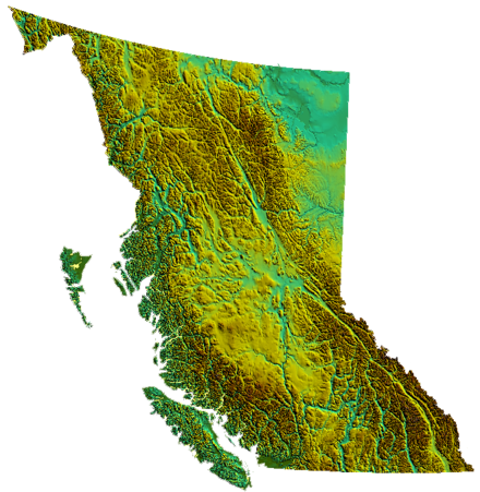 British Columbia's geography is epitomized by the variety and intensity of its physical relief, which has defined patterns of settlement and industry since colonization. BC-relief.png