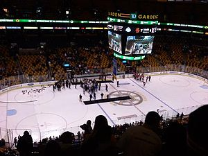 Boston College Eagles men's ice hockey - On ice celebrations after BC defeated Northeastern in the 2011 Beanpot final.