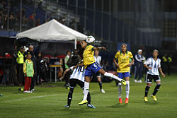 The women s national sides representing Argentina and Brazil play at the  2014 Copa América Femenina. 2f22fdfa55ded