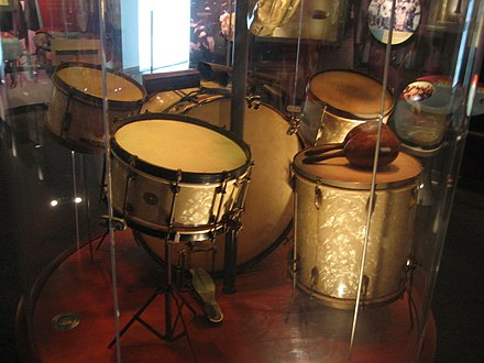 Drum set used by Baby Dodds, Louisiana State Museum, Baton Rouge, Louisiana. BRMuseumJuly08BabyDoddsDrums2.jpg