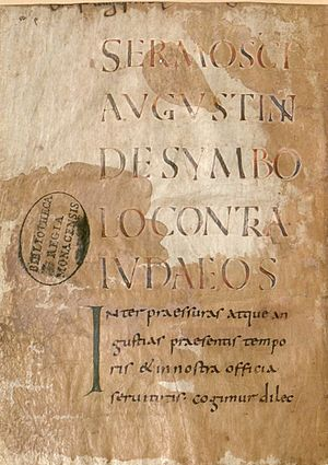 Quodvultdeus - Opening page of a 9th-century manuscript of the Sermon against Jews, Pagans and Arians by Quodvultdeus, erroneously attributed to Augustine of Hippo (Bavarian State Library Clm 14098, f. 61v)