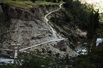 Bagrot Valley - Image: Bagrote Valley Suspension Bridge Hopay