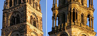 Bamberg Cathedral - These two towers show the difference between the two styles of architecture very clearly: the Romanesque on the left and the Gothic on the right.