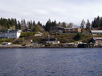 Bamfield Marine Sciences Centre - Clockwise from top left: whale lab, main building, cafeteria, Rix Centre, boat shed, COTC lab, ecophysiology lab, cable tank, pump station