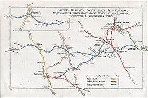 Banbury railway station - A 1911 Railway Clearing House map of railways in the vicinity of Banbury.