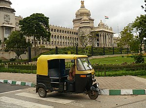 Auto Rickshaw in Bangalore, with the Vidhana S...