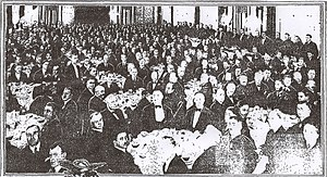Palm Court (Alexandria Hotel) - Palm Court as it appeared in 1920 during a banquet in honor of Gen. John J. Pershing.