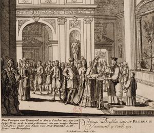 Pedro, Prince of Brazil - Image: Baptême du prince de Portugal sous le nom de Pierre III, prince du Brésil Bibliothèque nationale de France