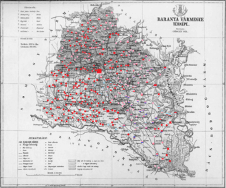 Baranya County (former) - Ethnic map of the county with data of the 1910 census (see the key in the description)