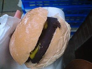 Barm cake - Image: Barm cake with black pudding