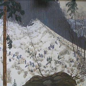 Alfred Basel - Kämpfe in den Karpaten (Fighting in the Carpathians). Tempera on canvas, 100.5 × 100.5 cm. Heeresgeschichtliches Museum, Vienna.