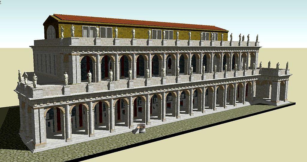 Reconstitution 3D de la Basilica Aemilia sur le forum de Rome. Image de L.VII.C