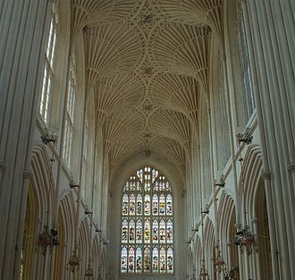 Buildings and architecture of Bath - Fan vaulting over the nave at Bath Abbey. A Victorian restoration of the original roof from 1608