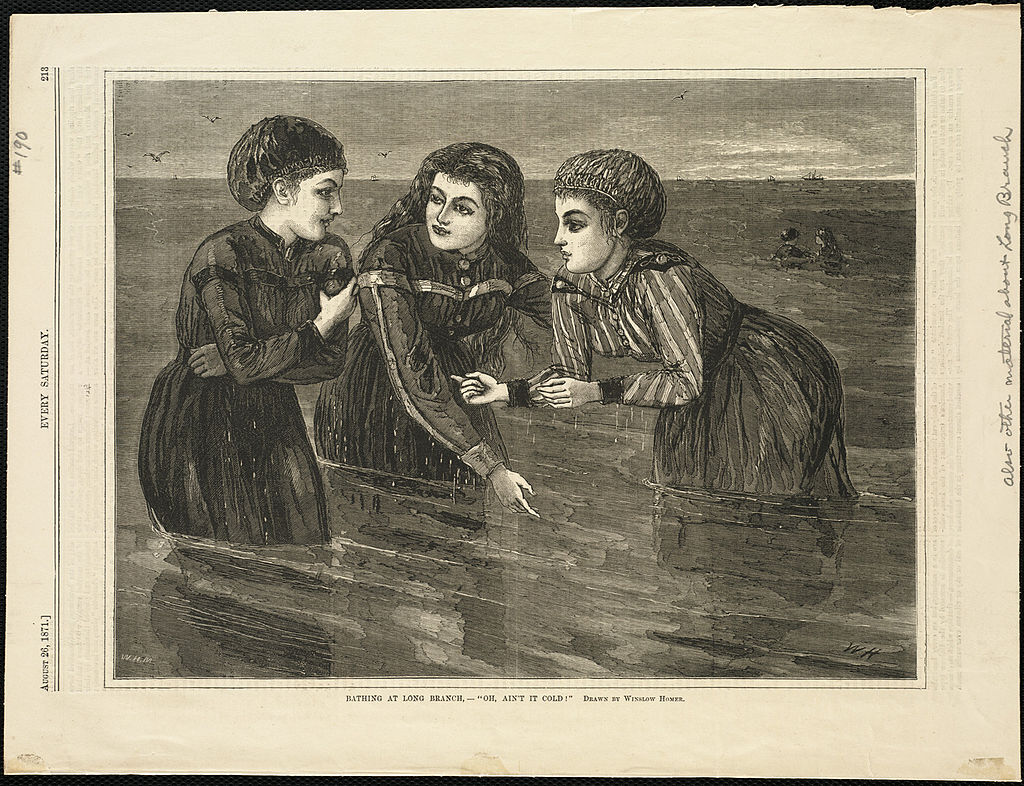 Bathing at Long Branch, -- 'Oh, ain't it cold' (Boston Public Library)