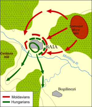 Battle of Baia - Map of the battle, showing the Moldavian attack