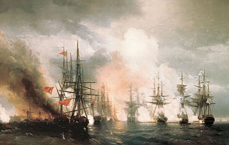 Battle of Sinop - Russian ships at the Battle of Sinop, by Ivan Aivazovsky