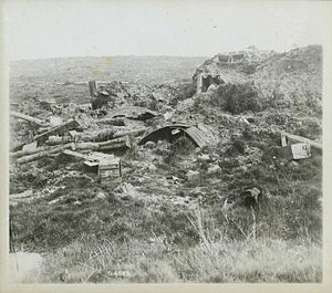 Battle of Mont Sorrel - Destroyed dugouts and shelters; prior to the war, most of the terrain here was heavily wooded.