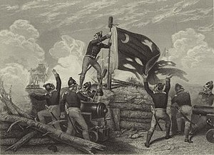 Minor American Revolution holidays - Sgt. Jasper raising battle flag during the Battle of Sullivan's Island.