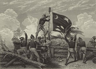 Sullivan's Island, South Carolina - The Moultrie Flag (also known as the Liberty Flag) being raised over Fort Moultrie, after its successful defense against British invaders