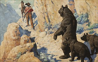 William Robinson Leigh - Bears in the Path (Surprise), 1904, Oil on canvas, Sid Richardson Museum, Fort Worth, Texas (https://www.sidrichardsonmuseum.org)