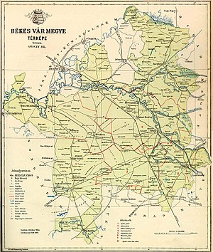 Békés County - Old countrymap with settlements and roads, railway