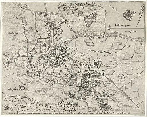 Beleg van Hulst door aartshertog Albrecht, 1596 Of-conterfeytinge der Stad Hulst met syne Polders ende Schansen, waer op den Coronel la Borlotte den 10. Iulij des nachts met synen aenslach heeft gemaket ende veel volcks, RP-P-OB-80.187