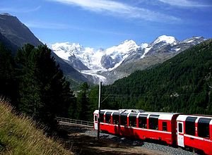 the Bernina Express with Piz Bernina in Background